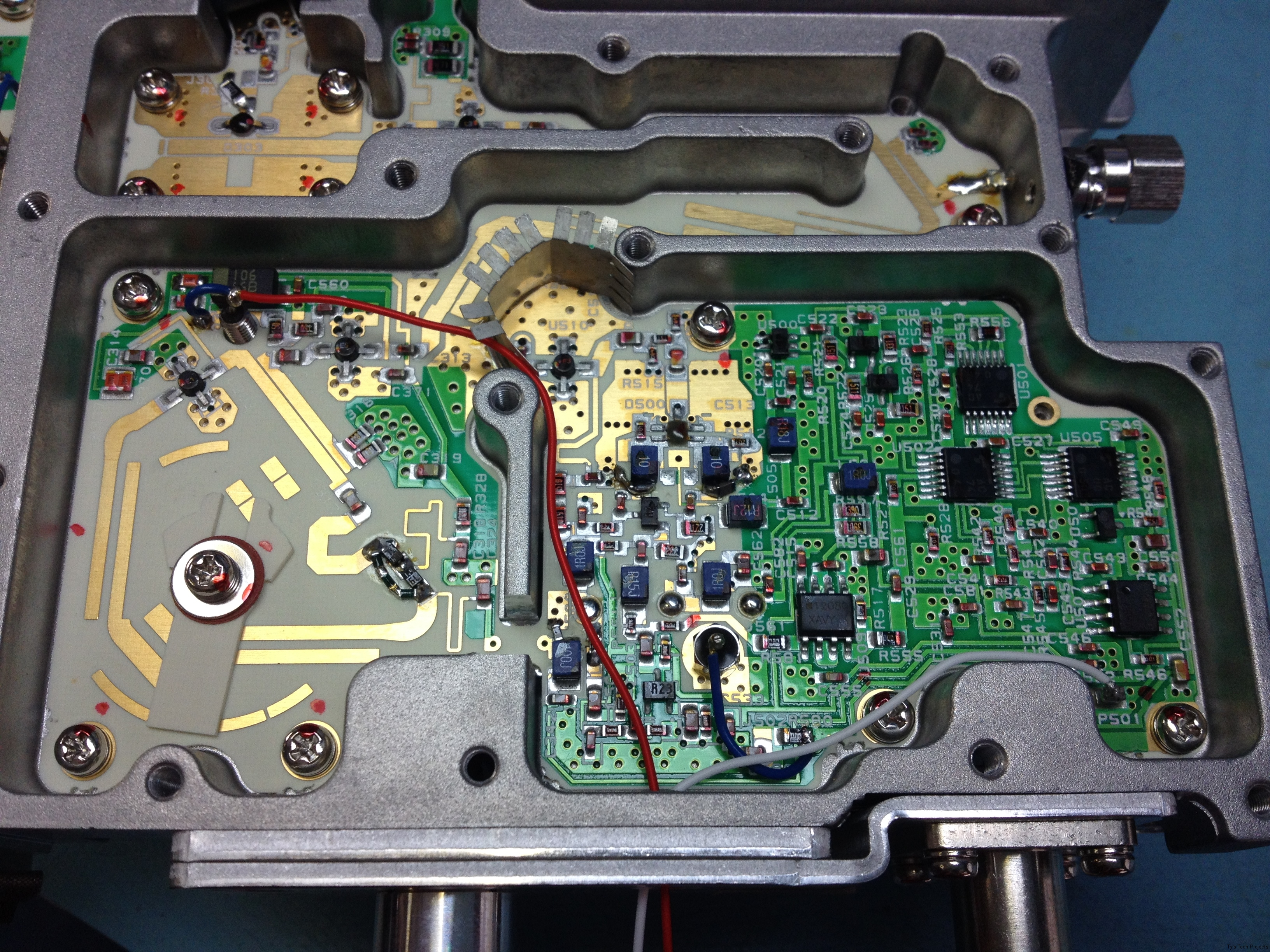 Overview of the test wires soldered in place