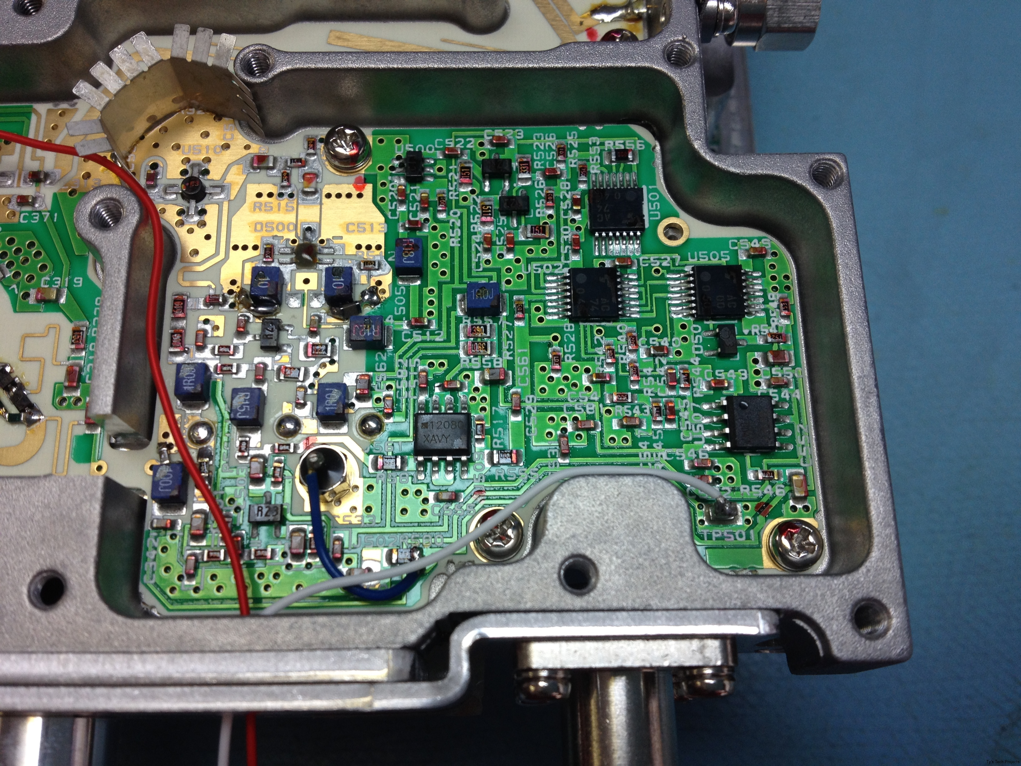 Wire soldered to test point for VCO control feedback