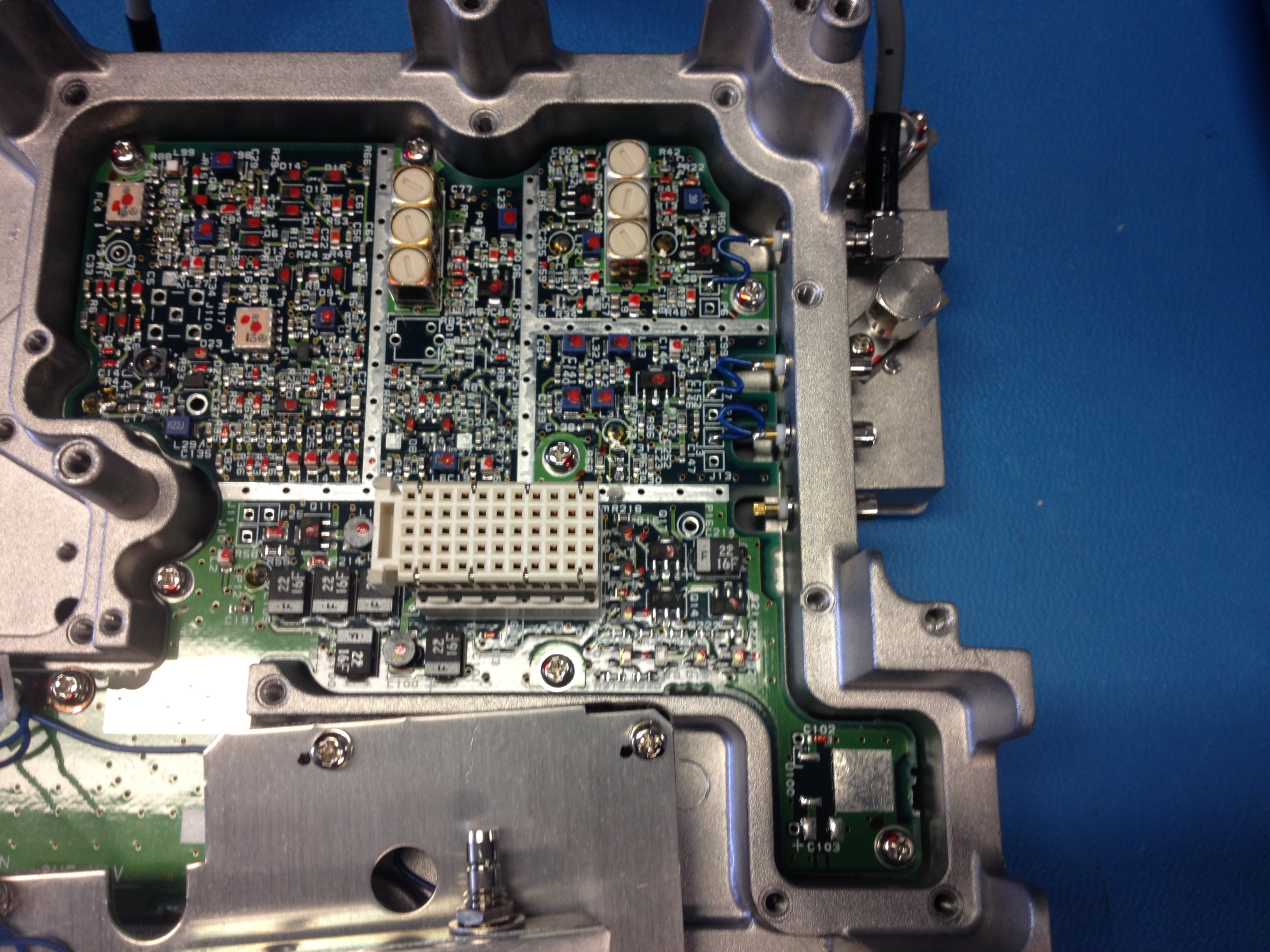 Shots of the circuits on the back side of the RF board