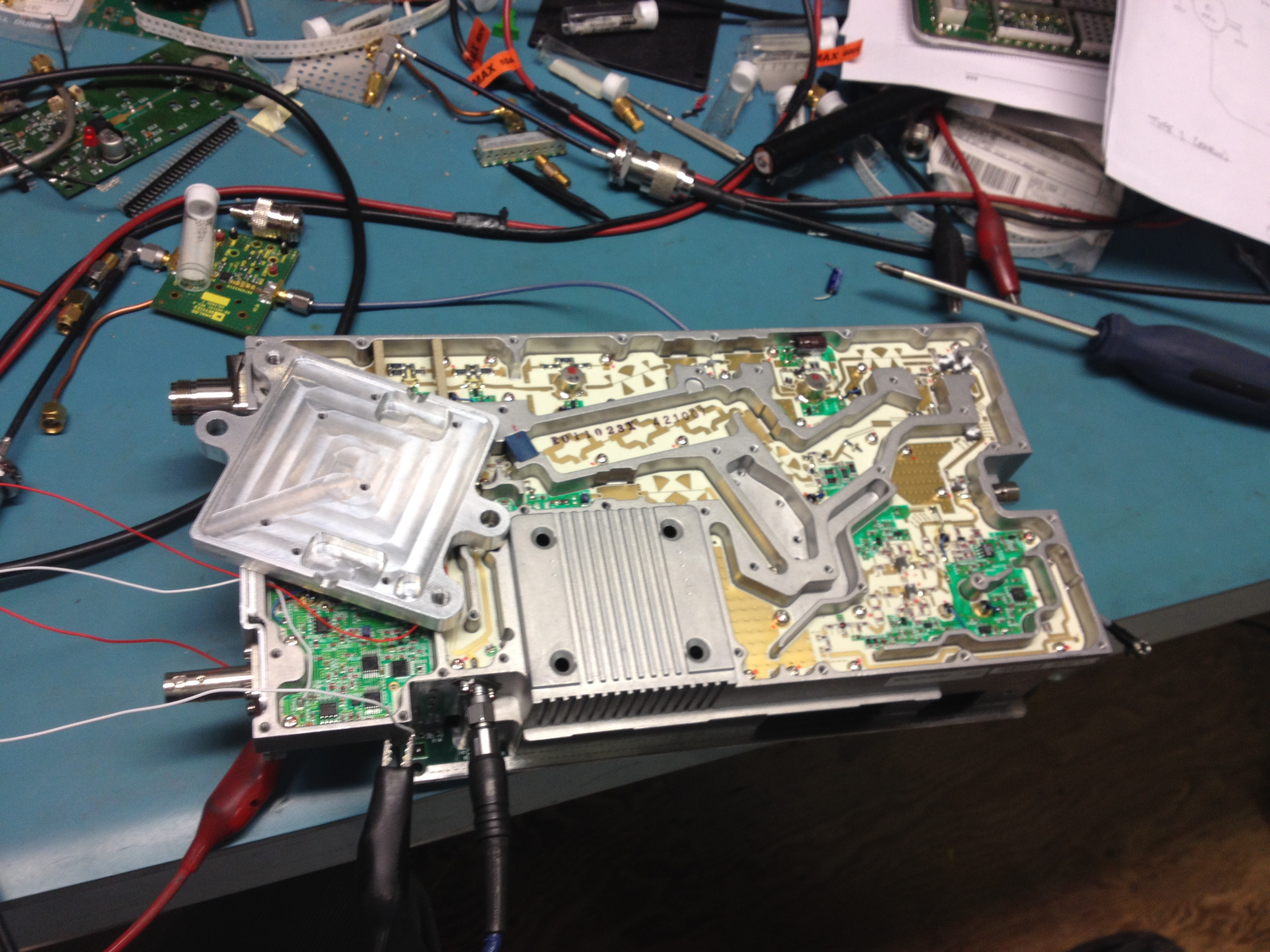 Shot during alignment, chunk of aluminum acts to shield VCO